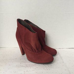 Pink Studio Red Suede Slip On Boots Paper Bag 6.5